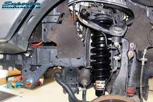 Left front inside view of the fitted EFS strut with coil spring