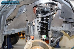 Right front inside view of the fitted EFS strut with coil spring
