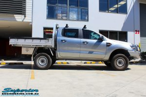 Right side view of a Silver Ford PX Ranger after fitment of a EFS 40mm Lift Kit