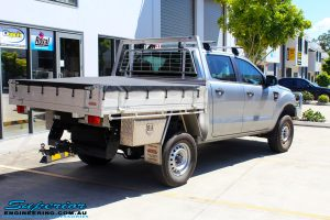 Rear right view of a Silver Ford PX Ranger after fitment of a EFS 40mm Lift Kit