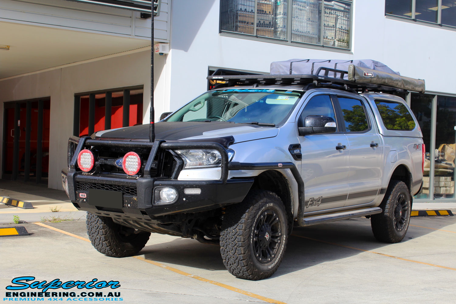 """Right front side view of a Silver Ford PX Ranger after fitment of a Bilstein 2"""" Inch Lift Kit"""