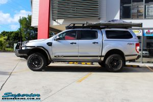 """Right side view of a Silver Ford PX Ranger after fitment of a Bilstein 2"""" Inch Lift Kit"""