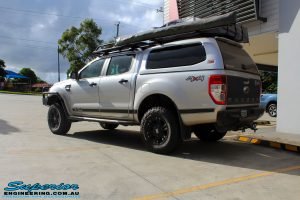 """Rear right view of a Silver Ford PX Ranger after fitment of a Bilstein 2"""" Inch Lift Kit"""