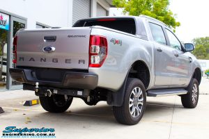 """Rear right view of a Grey Ford PX2 Ranger after fitment of a Superior Nitro Gas 4"""" Inch Lift Kit + Superior Diff Drop Kit"""