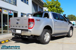 Rear right view of a Silver Ford PXII Ranger before fitment of a Ironman 4x4 Long Range Fuel Tank + Protector Bull Bar