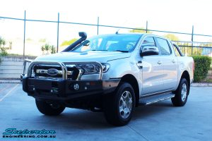 Right front side view of a Silver Ford PXII Ranger after fitment of a Ironman 4x4 Long Range Fuel Tank + Protector Bull Bar
