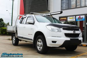 Right front side view of a White Holden Colorado RG before fitment of a Bilstein 45mm Lift Kit