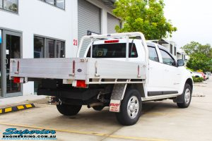 Rear right view of a White Holden Colorado RG before fitment of a Bilstein 45mm Lift Kit