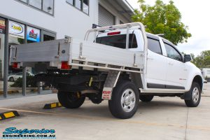 Rear right view of a White Holden Colorado RG after fitment of a Bilstein 45mm Lift Kit