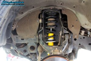 Left front inside view of the fitted Bilstein 20mm Front Strut with Coil Spring