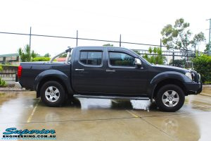 "Side view of a Nissan D40 Navara Dual Cab before fitment of a Superior Nitro Gas 2"" Inch Lift Kit, Airflow Snorkel & Nitto Trail Grappler Tyres + Tuff T16 Alloys"