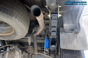 Rear right underbody view of the fitted Superior Nitro Gas Shock with Leaf Spring, Extended Shackles & U-Bolt Kit