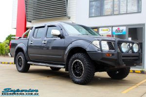"Right front side view of a Nissan D40 Navara Dual Cab after fitment of a Superior Nitro Gas 2"" Inch Lift Kit, Airflow Snorkel & Nitto Trail Grappler Tyres + Tuff T16 Alloys"