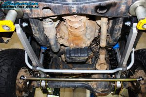 Front underbody view of the fitted 2 x Nitro Gas Shocks with Coil Springs, Hyperflex Radius Arms, Tie Rod Heim Joint & Superflex Sway Bar