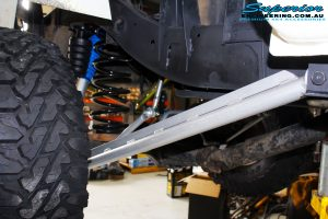 Rear right view of the fitted Coil Spring, Long Arm Control Arm, & Superflex Sway Bar