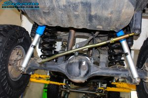 Rear underbody view of the fitted 2 x Nitro Gas Shocks with Coil Springs & Panhard Rod