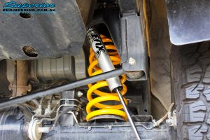 Rear left inside guard view of the fitted Fox 2.0 Performance Series EFP Shock + Coil Spring