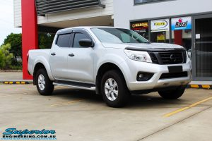 """Right front side view of a Grey Nissan NP300 Navara Ute before fitment of a Superior Nitro Gas 4"""" Inch Lift Kit + Airbag Man 2"""" Coil Air Kit Helper, Ironman 4x4 Flomax Air Compressor and Nitto Trail Grappler Tyres with King Gator Wheels"""