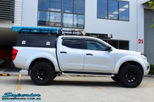 "Right side view of a Grey Nissan NP300 Navara Ute after fitment of a Superior Nitro Gas 2"" Inch Lift Kit + Airbag Man 2"" Coil Air Kit Helper, Ironman 4x4 Flomax Air Compressor and Nitto Trail Grappler Tyres with King Gator Wheels"