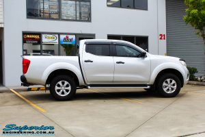 "Right side view of a Grey Nissan NP300 Navara Ute before fitment of a Superior Nitro Gas 2"" Inch Lift Kit + Airbag Man 2"" Coil Air Kit Helper, Ironman 4x4 Flomax Air Compressor and Nitto Trail Grappler Tyres with King Gator Wheels"