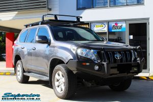 "Right front side view of a Grey Toyota 150 Series Landcruiser Prado before fitment of a Superior Nitro Gas 2"" Lift"