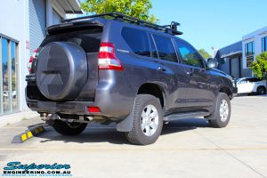 """Rear right view of a Grey Toyota 150 Series Landcruiser Prado before fitment of a Superior Nitro Gas 2"""" Lift"""