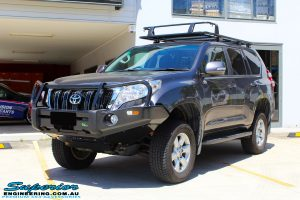 "Left front side view of a Grey Toyota 150 Series Landcruiser Prado after fitment of a Superior Nitro Gas 2"" Lift"