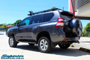 """Rear left view of a Grey Toyota 150 Series Landcruiser Prado after fitment of a Superior Nitro Gas 2"""" Lift"""