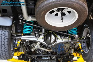 """Rear underbody view of the fitted Bilstein 2"""" Shocks with Coil Springs"""