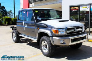 "Right front side view of a Grey Toyota 79 Series Landcruiser before fitment of a Superior Nitro Gas Superflex 4"" Inch Lift Kit"