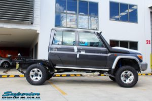 """Right side view of a Grey Toyota 79 Series Landcruiser after fitment of a Superior Nitro Gas Superflex 4"""" Inch Lift Kit"""