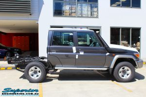 """Right side view of a Grey Toyota 79 Series Landcruiser before fitment of a Superior Nitro Gas Superflex 4"""" Inch Lift Kit"""