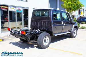 """Rear right view of a Grey Toyota 79 Series Landcruiser before fitment of a Superior Nitro Gas Superflex 4"""" Inch Lift Kit"""