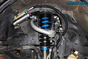 Left front inside view of the fitted Coil Spring with Superior Remote Reservoir Strut & Superior Upper Control Arm