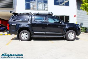 """Right side view of a Black Holden RG Colorado Dual Cab before fitment of a Superior Nitro Gas 2"""" Inch Lift Kit"""