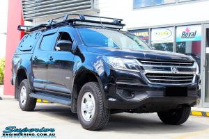 """Right front side view of a Black Holden RG Colorado Dual Cab after fitment of a Superior Nitro Gas 2"""" Inch Lift Kit"""
