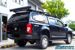 """Rear right view of a Black Holden RG Colorado Dual Cab after fitment of a Superior Nitro Gas 2"""" Inch Lift Kit"""