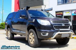 """Right front side view of a Dark Blue Holden RG Colorado Dual Cab before fitment of a Superior Nitro Gas 3"""" Inch Lift Kit"""