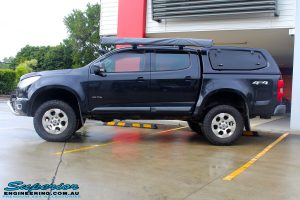 """Left side view of a Dark Blue Holden RG Colorado Dual Cab after fitment of a Superior Nitro Gas 3"""" Inch Lift Kit"""