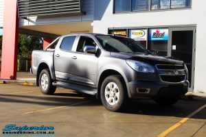 Right front side view of this Holden RG Colorado in Grey before fitment of a Ironman 4x4 Deluxe Black Bull Bar & GME UHF