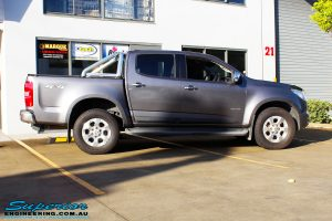 Right side view of this Holden RG Colorado in Grey before fitment of a Ironman 4x4 Deluxe Black Bull Bar & GME UHF