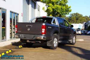 Rear right view of this Holden RG Colorado in Grey before fitment of a Ironman 4x4 Deluxe Black Bull Bar & GME UHF