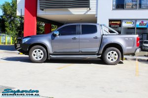 Left side view of this Holden RG Colorado in Grey after fitment of a Ironman 4x4 Deluxe Black Bull Bar & GME UHF