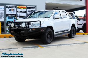 Left front side view of a White Holden RG Colorado Dual Cab before fitment of a Tough Dog 40mm Lift Kit