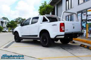 Rear left view of a White Holden RG Colorado Dual Cab before fitment of a Tough Dog 40mm Lift Kit