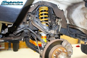 Front right inside guard view of the fitted Tough Dog Strut + Coil Spring