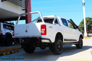 Rear right view of a White Holden RG Colorado Dual Cab after fitment of a Tough Dog 40mm Lift Kit
