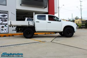 """Right side view of a White Isuzu D-Max Dual Cab after fitment of a Superior Remote Reservoir 2"""" Inch Lift Kit + King Wheels & Nitto Tyres"""