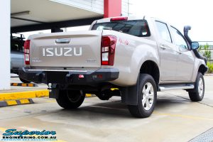 "Rear right view of a Silver Isuzu D-Max Dual Cab after fitment of a Superior Nitro Gas 2"" Inch Lift Kit + MCC Rocker Bull Bar + Rear Bar & a Superior Diff Drop Kit"