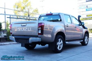 "Rear right view of a Silver Isuzu D-Max Dual Cab before fitment of a Superior Nitro Gas 2"" Inch Lift Kit + MCC Rocker Bull Bar + Rear Bar & a Superior Diff Drop Kit"